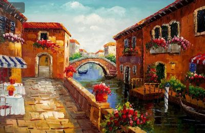 "RESTAURANT BY A CANAL IN VENICE  24X36 "" ORIGINAL OIL PAINTING – image 1"