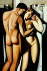 "HOMAGE TO T. DE LEMPICKA - ADAM AND EVE 24X36 ""  OIL PAINTING – image 2"