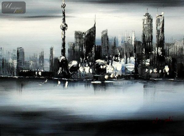 Modern Art -  Shanghai Skyline Moonlit 30x40 cm Original Oil Painting – image 1