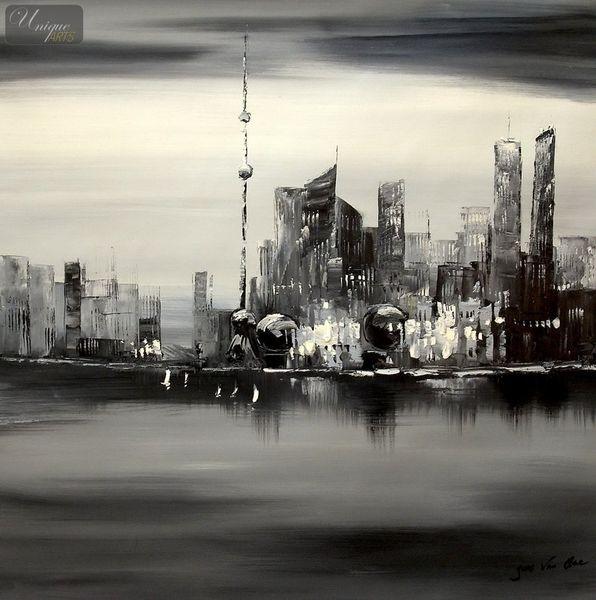 Modern Art -  Shanghai Skyline Moonlit 80x80 cm Original Oil Painting