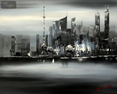 Modern Art -  Shanghai Skyline Moonlit 50x60 cm Original Oil Painting