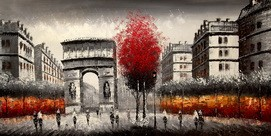 "PARIS ART -  ARC DE TRIUMPH24X48 "" ORIGINAL OIL PAINTING – image 2"