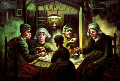 "VINCENT VAN GOGH - THE POTATO EATERS 24X36 ""  REPRODUCTION OIL PAINTING – image 1"