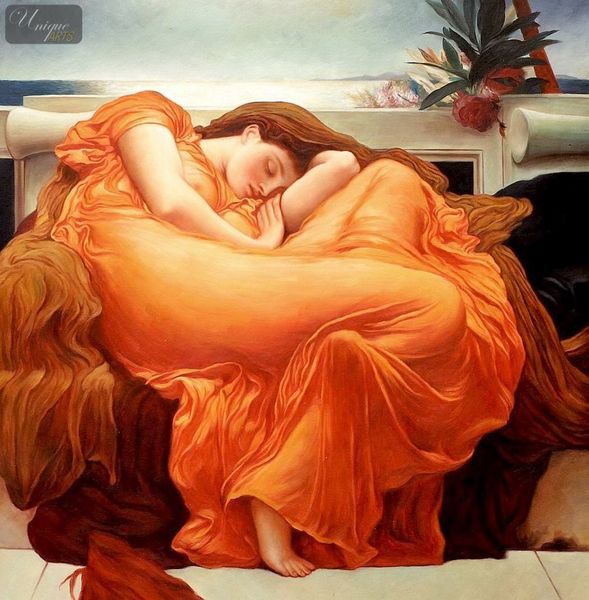 "LORD FREDERICK LEIGHTON - FLAMING JUNE 36X36 "" OIL PAINTING MUSEUM QUALITY"