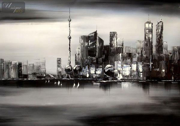 Modern Art -  Shanghai Skyline Moonlit 80x110 cm Original Oil Painting – image 1