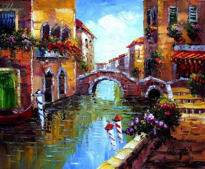 "BRIDGE OVER CANAL IN VENICE 16X20 "" ORIGINAL OIL PAINTING – image 1"