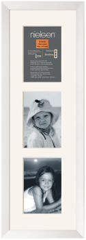 Nielsen Essentials White Wood Frame 20x60 cm 3x Window Mounts 10x15 cm for Photos or Artwork
