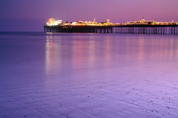 Brighton Pier Pink Sunset - Fineart Photography by David Freeman