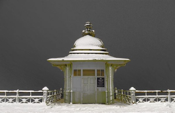 Old Lift in the snow, Brighton - Fineart Photography by David Freeman