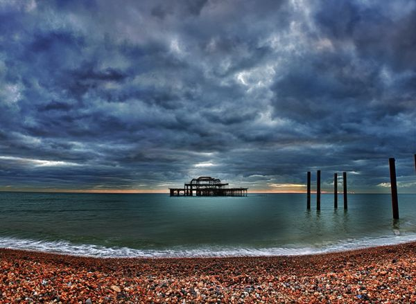 West Pier and Clouds - Fineart Photography by David Freeman