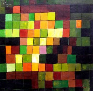 "PAUL KLEE - ANCIENT SOUND  48X48 "" OIL PAINTING REPRODUCTION"