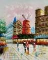 "MODERN ART - PARIS - THE MOULIN ROUGE  16X20 "" OIL PAINTING – image 2"