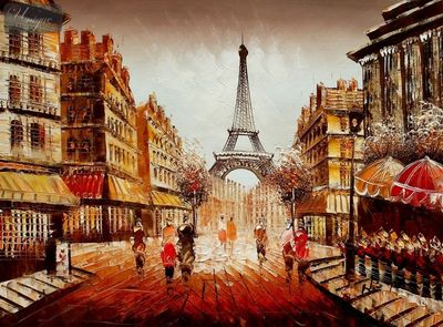 "MODERN ART - PARIS STREET SCENE  12X16 "" OIL PAINTING – image 1"