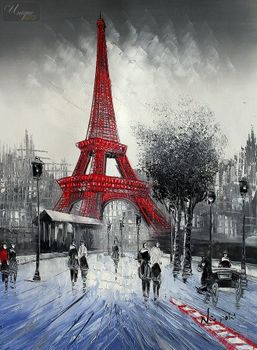 "MODERN ART - PARIS WINTER SCENE  12X16 "" OIL PAINTING FRAMED – image 1"