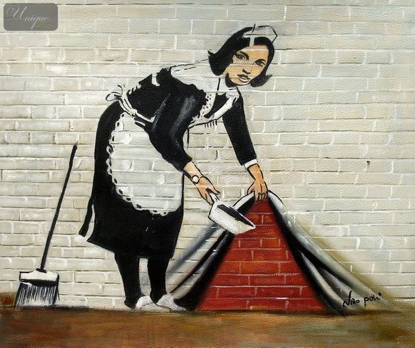 "HOMAGE TO BANKSY - SWEEPING UNDER WALL  20X24 "" OIL PAINTING"
