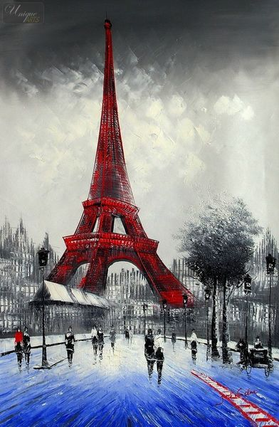 "MODERN ART - PARIS WINTER SCENE  24X36 "" OIL PAINTING"