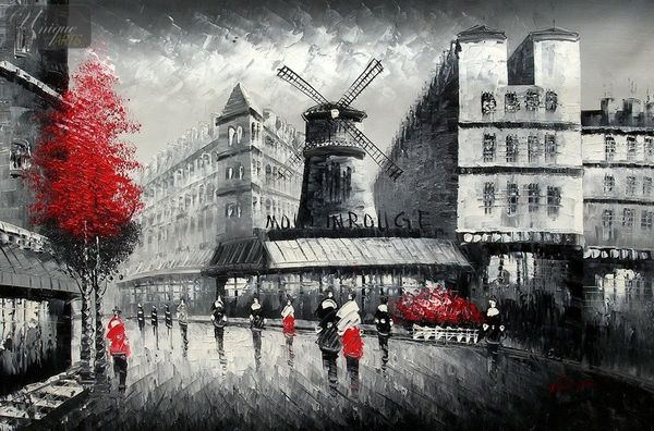 "MODERN ART - PARIS - THE MOULIN ROUGE  24X36 "" OIL PAINTING – image 1"