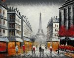 "MODERN ART - PARIS STREET SCENE WITH EIFFEL TOWER  16X20 "" OIL PAINTING 001"