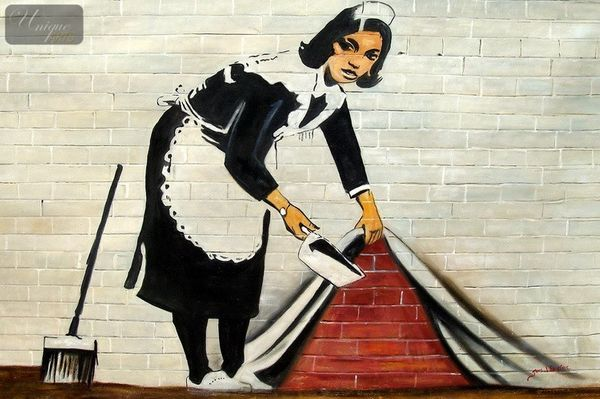 Homage To Banksy - Sweeping Under Wall 120x180 cm Oil Painting Hand Painted
