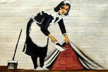 Homage To Banksy - Sweeping Under Wall 120x180 cm Oil Painting Hand Painted 001