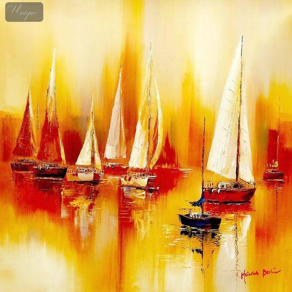 Segelboote auf dem Gardasee 80x80 cm modernes Gemälde