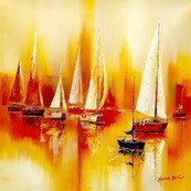 Sailing Boats On A Lake  80x80 cm Original Oil Painting