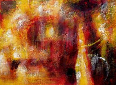 "ABSTRACT - FIRE STORM 32X44 "" ORIGINAL OIL PAINTING – image 2"