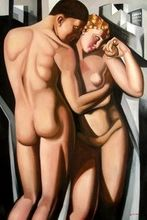 "HOMAGE TO T. DE LEMPICKA - ADAM AND EVE 48X72 "" OIL PAINTING 001"