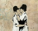 "HOMAGE TO BANKSY - BOBBIES KISSING 20X24 "" OIL PAINTING HAND PAINTED"
