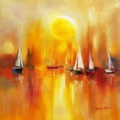 Sailing Boats On A Lake  80x80 cm Original Oil Painting 001