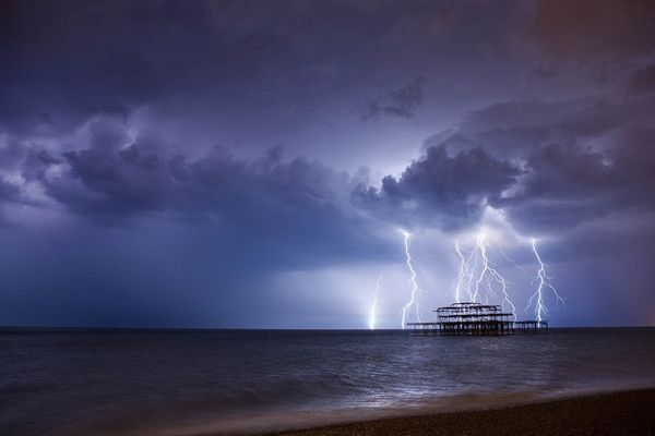 Lightning Over West Pier II by Max Langran (Lightning over West Pier Brighton) 2014
