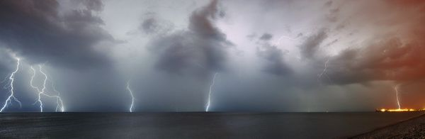 Brighton Lightning Panorama II -  Limited Edition Print - by David Freeman - 2014 - Fineart Photography by David Freeman