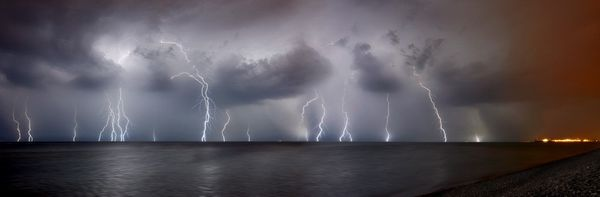 Brighton Lightning Panorama I -  Limited Edition Print - by David Freeman - 2014 - Fineart Photography by David Freeman