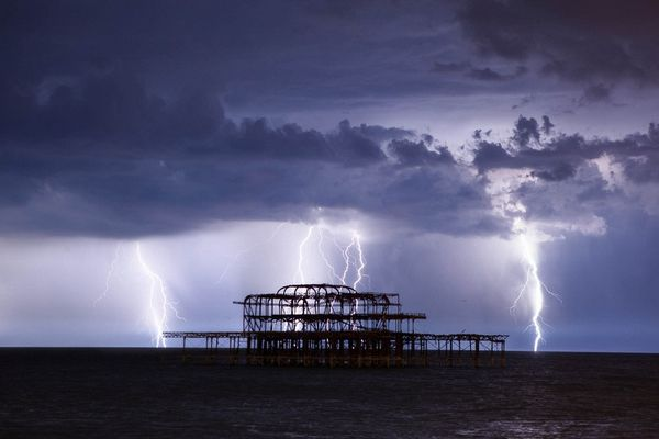 Lightning Over West Pier I by Max Langran (Lightning over West Pier Brighton) 2014