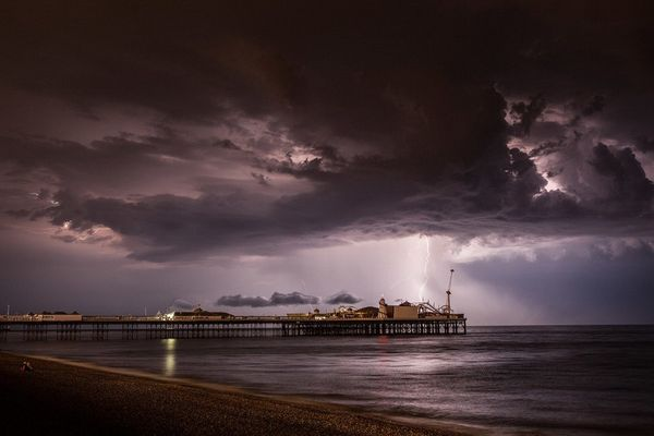 Lightning IV - by Max Langran (Lightning over Palace Pier Brighton) 2014
