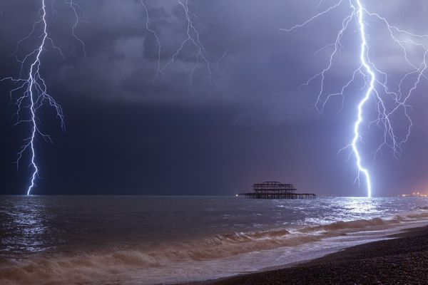 Lightning Over West Pier IV by Max Langran