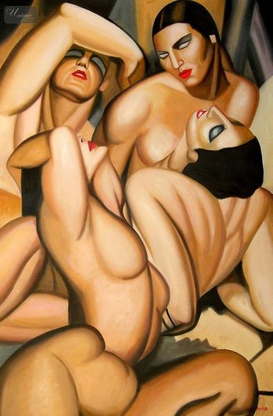 "HOMAGE TO TAMARA DE LEMPICKA - FOUR NUDES 48x72 "" OIL PAINTING"