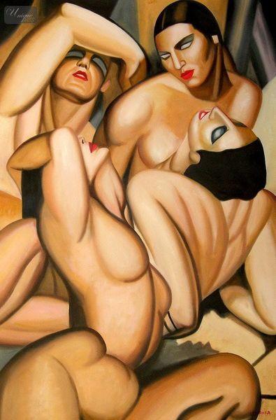 Homage of Tamara de Lempicka - Four nudes 120x180 cm beeindruckendes Ölbild