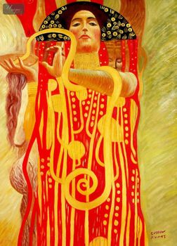 "GUSTAV KLIMT - MEDICINE 32x44 "" PAINTED BY HAND IN OIL – image 1"