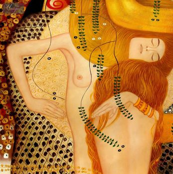 "GUSTAV KLIMT - WATER SERPENTS 32x32 "" PAINTED BY HAND IN OIL – image 1"