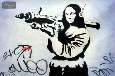 "HOMAGE TO BANKSY - MONA LISA STREET ART SERIES 24x36 "" OIL PAINTING – image 1"