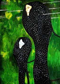 "GUSTAV KLIMT - WATER SERPENTS 32x44 "" PAINTED BY HAND IN OIL – image 1"