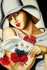 "HOMAGE TO T. LEMPICKA - MIDSUMMER 24x36 "" REPRO OIL PAINTING – image 2"