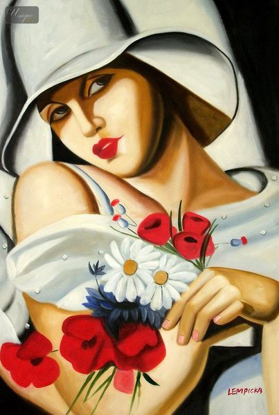 "HOMAGE TO T. LEMPICKA - MIDSUMMER 24x36 "" REPRO OIL PAINTING"