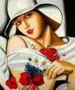 "HOMAGE TO T. LEMPICKA - MIDSUMMER 20x24 "" REPRO OIL PAINTING – image 2"