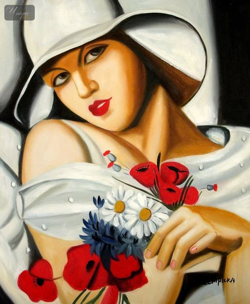 """HOMAGE TO T. LEMPICKA - MIDSUMMER 20x24 """" REPRO OIL PAINTING – image 1"""