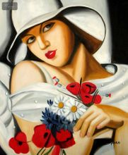"""HOMAGE TO T. LEMPICKA - MIDSUMMER 20x24 """" REPRO OIL PAINTING 001"""
