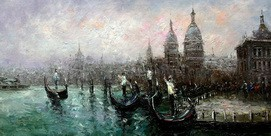 "MODERN ART - VENICE AT DAWN 24x48 "" ORIGINAL OIL PAINTING – image 2"