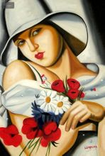 "HOMAGE TO T. LEMPICKA - MIDSUMMER 24x36 "" REPRO OIL PAINTING 001"