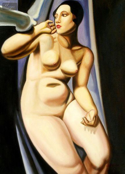 Homage of T. de Lempicka - Die Taube 80x110 cm Art Deco Ölgemälde